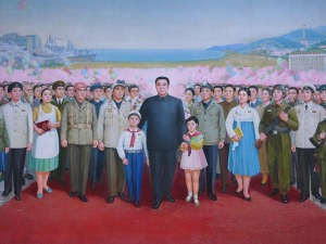 Mural: Kim Il-Sung with the North Korean people